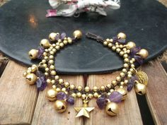 Handmade bracelet purple amethyst and cute brass pendants