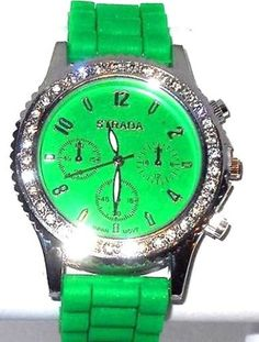 GREEN-FACE-Crystal-Watch-with-Matching-color-band