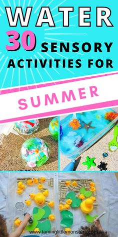 30 Water Sensory Activities for Summer. Water based sensory bins, bottles and bags for toddlers and preschoolers to enjoy this summer. #summer #sensory #toddlers #preschool Sensory Bins, Sensory Activities, Sensory Play, Summer Activities, Summer Crafts, Toddler Preschool, Pre School, Art Projects, Arts And Crafts