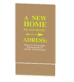 Trendy verhuiskaart in papierlook en neon kleur groen #verhuiskaartje #verhuiskaart