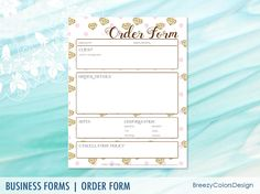 Floral Order Form Printable For Craft Small Business Custom