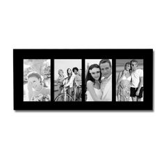 Decorative Black Wood Divided Picture Photo Frame (4 Opening)