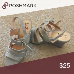 Shoes Grey strapped wedge Luichiny Shoes Wedges