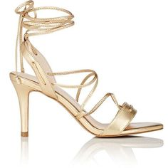 Barneys New York Women's Shelia Metallic Leather Sandals ($139) ❤ liked on Polyvore featuring shoes, sandals, gold, leather lace up sandals, leather slingback sandals, high heel shoes, leather high heel sandals and high heels sandals