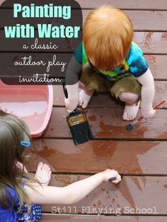 Outside Water Painting: A mess free fine motor and sensory experience for toddlers AND preschoolers from Still Playing School