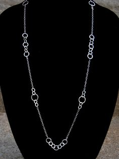 Hammered Sterling Silver Necklace, Long Silver Necklace, Rustic Necklace, Station Necklace, Statement Necklace