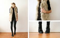 Zara Faux Fur Gilet, Cos Black Shirt, Asos Ring, Cos Coated Jeans, Eden Blanca Shoes