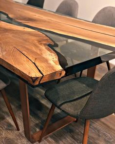 📸from a right here in Hoboken! Nothing starts conversation like … 📸from a right here in Hoboken! Nothing starts conversation like an ultra clear epoxy resin and walnut dining table 👌🏼 . Walnut Dining Table, Wooden Dining Tables, Modern Dining Table, Dining Table Chairs, Wood Table, Live Edge Furniture, Resin Furniture, Epoxy Resin Table, Wood Resin