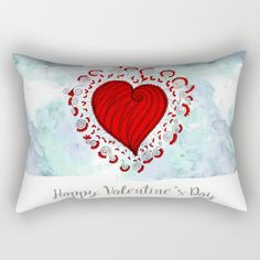 Watercolor zen style love heart Rectangular Pillow Love bears all things, believes all things, hopes all things, endure all things, LOVE NEVER ENDS Happy Valentine's day