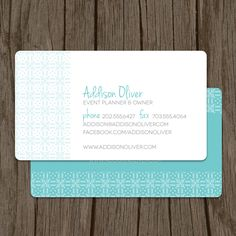 Event Planner or Interior Designer Business Card / Mommy Card - Set of 100. $48.00, via Etsy.