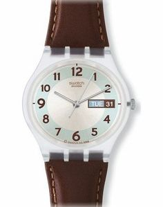 Swatch Unisex Blue Conker Blue Dial Leather Strap Watch Target Audience : Unisex - Style : Fashion - Item Shape : Round - Colors : Blue/Brown - Materials : Leather - Movement Type : Quartz - Glass : Mineral - epaisseur : 8 - (Barcode EAN = 0054362250870). http://www.comparestoreprices.co.uk/ladies-watches/swatch-unisex-blue-conker-blue-dial-leather-strap-watch.asp