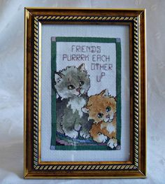 Picture Needlepoint Kittens | Friends Purk Each Other Up | Table Desktop Decor