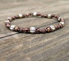 Stretch bracelet ivory & brown Czech glass beads by dalystudios