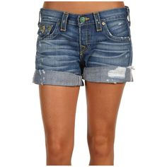 True Religion Jayde Boyfriend Short Vintage In Missouri ($246) ❤ liked on Polyvore featuring shorts and true religion