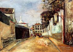 Maurice Utrillo Rue Norvins - Montmartre oil painting reproductions for sale