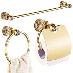 Cheap bathroom accessories, Buy Quality brass bathroom accessories set directly from China gold bathroom accessories sets Suppliers: Europe Gold Polished Bathroom Accessories Sets 3 Pieces Brass&Crystal Bathroom Accessories Sets Black And Gold Bathroom, Brass Bathroom, Bathroom Fixtures, Cream Bathroom, Bathroom Hardware, White Bathroom, Small Bathroom, Brass Toilet Paper Holder, Gold Bathroom Accessories