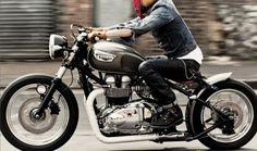 Triumph Bonneville bobber style. The whole idea of this picture. Dang!