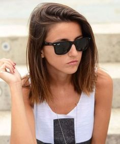 a great way for fine, thin hair to look full and thick! Brushed-Over Blunt Bob Haircut