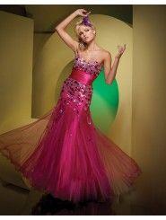 Organza Mermaid Strapless Sweetheart Neckline Sequined Bodice Prom Dress