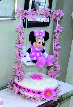 Baby Shower Minnie Mouse Theme Diaper Cake one tier created by Cyd Haltom Baby Shower Cakes, Baby Shower Diapers, Baby Shower Parties, Baby Shower Gifts, Baby Gifts, Baby Showers, Minnie Mouse Theme, Minnie Mouse Baby Shower, Baby Shower Games Unique