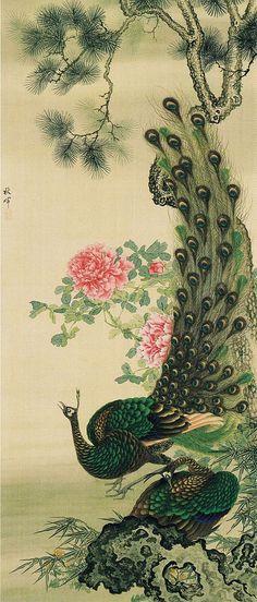 「牡丹孔雀図」絹本着色 安政3年(1856年) 静嘉堂文庫美術館