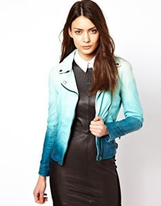 Awwww really? This is amazing!  Muubaa Dip Dyed Leather Biker Jacket | asos