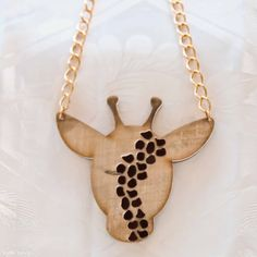 CRAZY GIRAFFE statement necklace made of wood and  perspex on Etsy, 200.00₪
