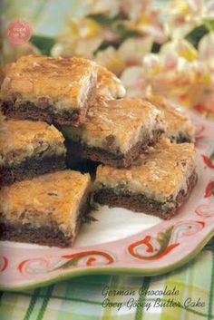 German Chocolate Ooey-Gooey Bars - Omit coconut and add chocolate chips! To die for! Chocolate Butter Cake, German Chocolate Cake Mix, Chocolate Chips, Just Desserts, Delicious Desserts, Yummy Food, Cake Mix Recipes, Dessert Recipes, Bar Recipes