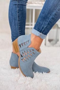 Take A Chance Cutout Detail Booties (Blue) - NanaMacs.com - 4