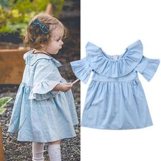 Blue Angel Flare Ruffle Dress Buy it today from www.presentbaby.com  We sell a wide array of baby clothing, socks, shoes, bottles, blankets and more. For more information visit our website today.  #winter #toddler #warmers #dresses #baby #gender #clothes #unisex #cutest #infant #clothing #romper #summer #socks #onesies