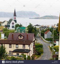 Houses and a church in a quaint atlantic coast town; Trinity, Newfoundland and Labrador, Canada Stock Photo