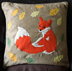Animal applique decorative cushion cover Red by NaturelandsAndCo (red fox - vulpes vulpes, leaf, leaves, fall, autumn, wildlife)
