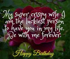 My super crispy wife I am the luckiest person to have you in my life. Be with me forever. Birthday Wishes For Wife, Romantic Birthday Wishes, Make Birthday Cake, Wife Birthday, Happy Birthday Me, You Are My Drug, Just You And Me, Perfect Wife, Good Wife