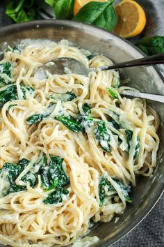 Lemon Ricotta & Spinach Pasta - Katiebird Bakes An easy weeknight dinner made with simple ingredients that'll be on your table in 20 minutes. Spinach Pasta Recipes, Chicken Recipes, Spinach And Ricotta Pasta, Recipes With Ricotta Cheese, Light Pasta Recipes, Ricotta Pasta Bake, Chicken Spinach Pasta, Cream Sauce Pasta, Snacks