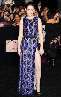 Stewart showed a little leg in a J. Mendel dress to the Breaking Dawn - Part 1 L.A. premiere