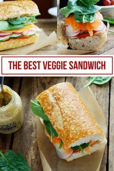 The best veggie sandwich is made from crusty bread dijon mustard and tons of veggies like cucumber tomato carrots and radish! Healthy Sandwich Recipes, Veggie Sandwich, Grilled Cheese Recipes, Healthy Sandwiches, Real Food Recipes, Cooking Recipes, Vegetarian Sandwiches, Lunch Recipes, Easy Vegetarian Lunch