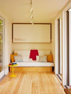 A living/sleeping room in Sunset's shipping container home