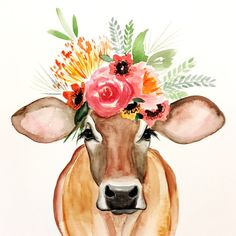 the Cow PRINT, floral cow, floral crown cow Carmen Cow art, cow painting Kirsten Dill Sonoran Watercolors Cow art, cow painting Kirsten Dill Sonoran Watercolors Painting Inspiration, Art Inspo, Kunst Inspo, Watercolor Print, Watercolor Paintings, Cow Painting, Painting & Drawing, Cow Art, Art Plastique