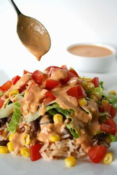 Bean and Veggie Burrito Bowl with Creamy Chipotle Sauce