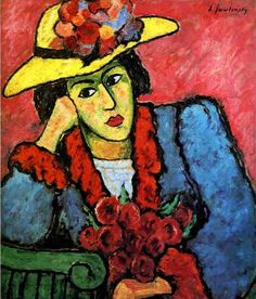 """Alexej von Jawlensky """"Lady in a Yellow Straw Hat"""", 1910 (Russia / Germany, Expressionism, 20th cent.)"""