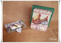 Servilletero, plato y jabón con decoupage
