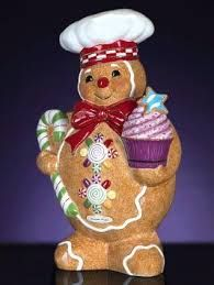 """""""GINGERBREAD WITH CUPCAKE AND MINT CANDY CANE"""" Cookie Jar"""