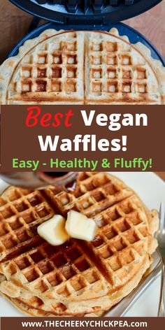 Vegan Waffles! Easy waffle recipe with the best flavour! Banana + Citrus. Healthy, Hearty, Fluffy & crispy! The house made waffle mix is easy to whip up in 1 bowl! Ready for your waffle maker! Eggless, dairy free, oil free! Gluten free option too! #cheeky_chickpea_ #banana #waffles #simple #best #veganrecipes #plantbased #glutenfree Easy Waffle Recipe, Waffle Recipes, Vegan Blogs, Delicious Vegan Recipes, Healthy Recipes, Easter Recipes Savoury, Fall Recipes, My Recipes, Banana Waffles