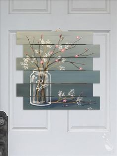Mason Jar Cherry Blossoms - Wood Cutout Pallet - Tuesday January 9 2018 - Painting with a Twist Pallet Painting, Tole Painting, Diy Painting, Painting On Wood, Wood Paintings, Arte Pallet, Pallet Art, Pallet Projects, Painted Boards