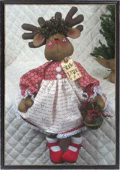 "♥ Primitive Raggedy 21"" ""Roxy Reindeer"" Pattern 231 ♥ | eBay"