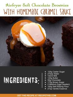 Airfryer Recipes | #chocolate brownie and caramel sauce recipe via the #airfryer