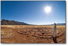 Burning desert sun over Whitewater Mesa Labyrinths in Glenwood.