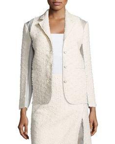 NINA RICCI Textured Combo Jacket, Silk White. #ninaricci #cloth #