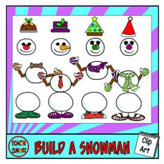 Clip art to build your own snowman! Make different combinations with the items including hot drinks, hats and shoes. Each image is in color and blackline PNG format.Try my other other Christmas ClipArt sets:12 Days of ChristmasHoliday Gifts - Geometric shapesGuess the gifts - Naughty or nice?Christmas costumes -Mix and matchSanta's ReindeerChristmas Clipart Bundle