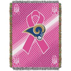 St. Louis Rams NFL Woven Tapestry Throw (Breast Cancer Awareness) (48x60)